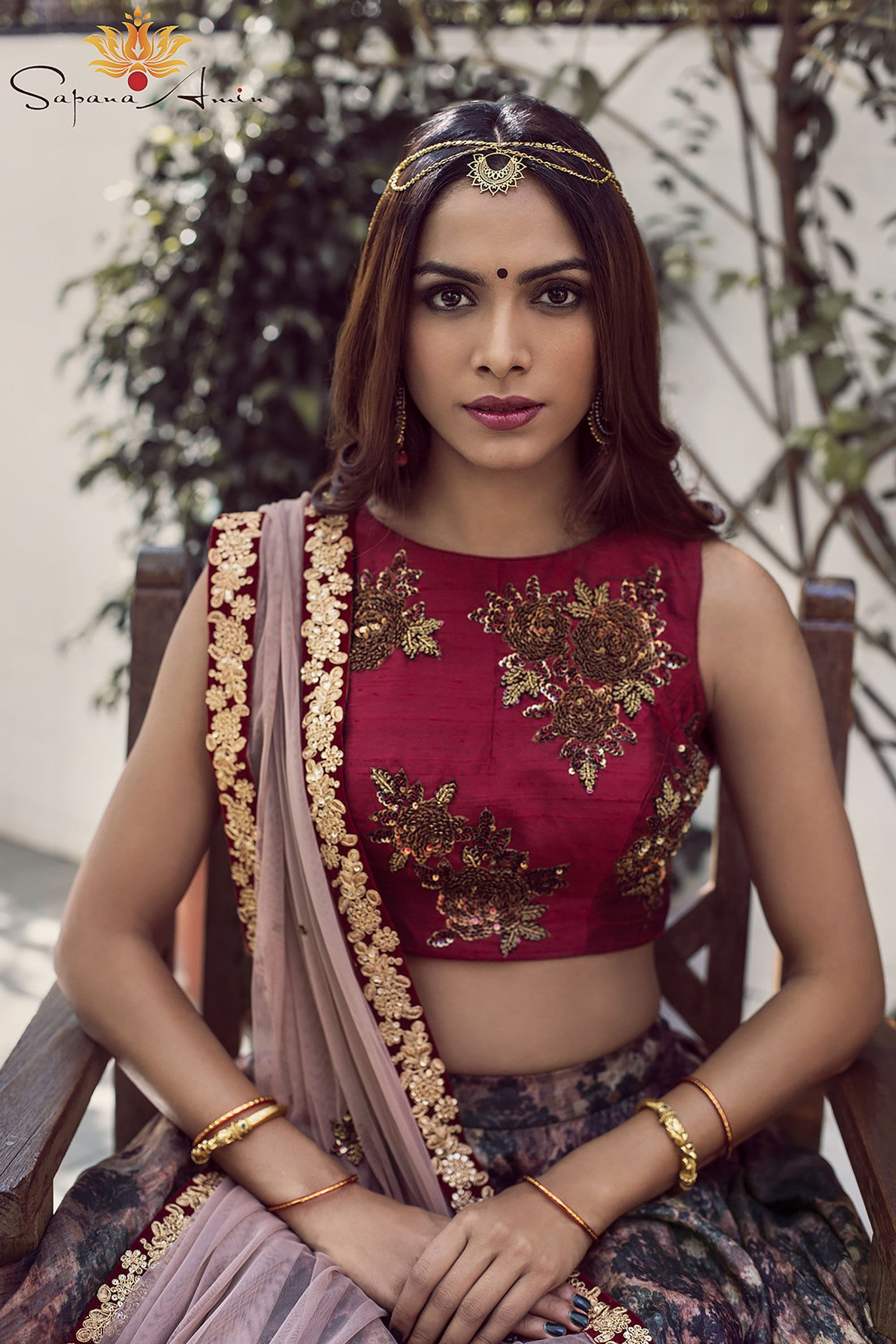 Burgundy Silk Floral Lehenga Close Up