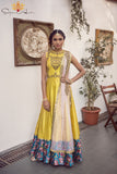 Yellow Raw Silk Gown Front