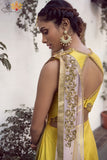 Yellow Raw Silk Gown Back