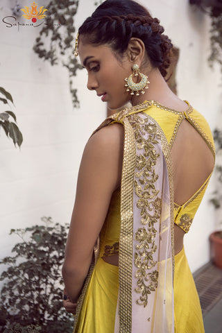 Yellow Raw Silk Gown