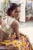 Yellow Floral Lehenga Back