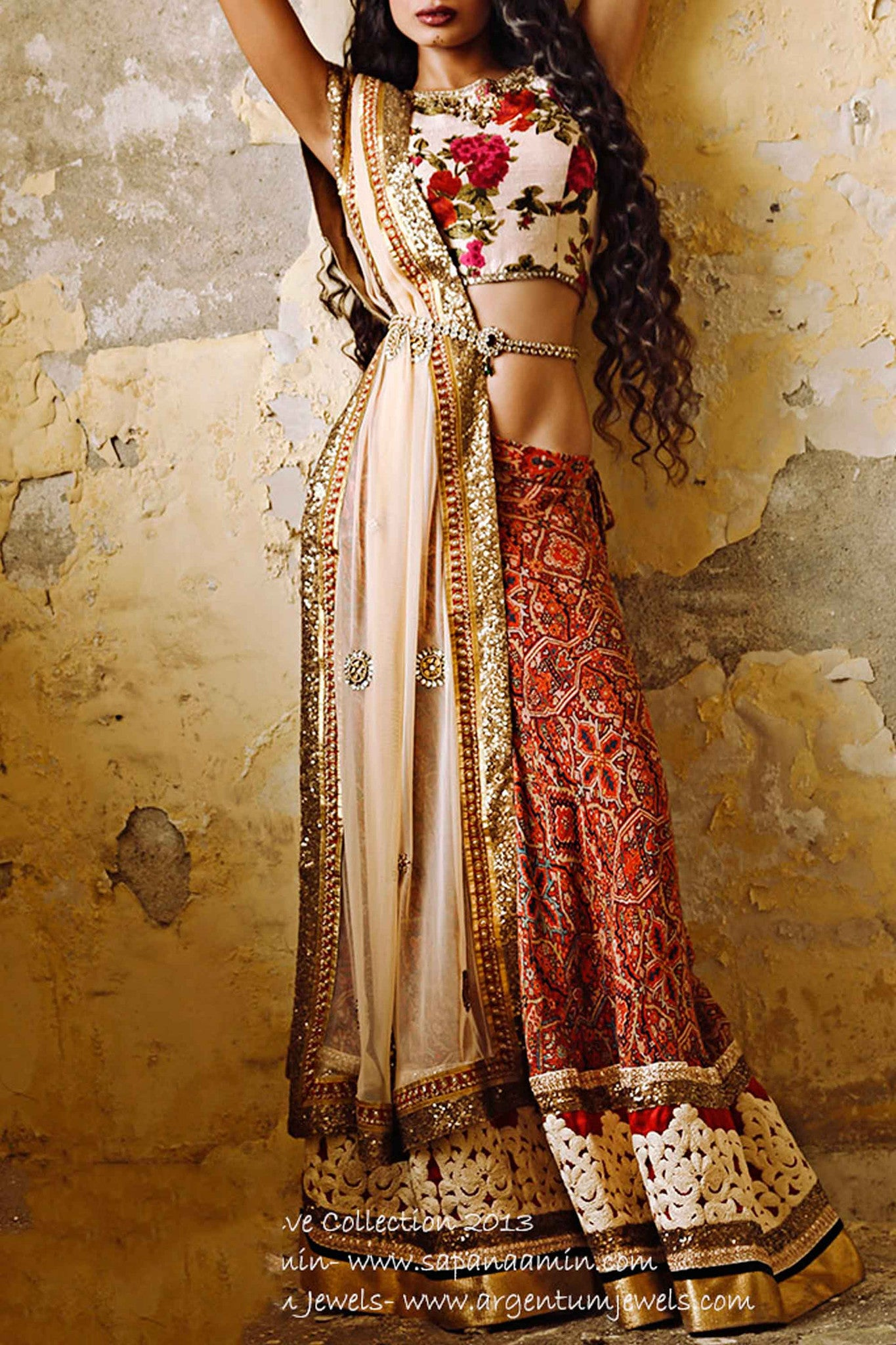 Ivory Floral Raw Silk Lehenga Front