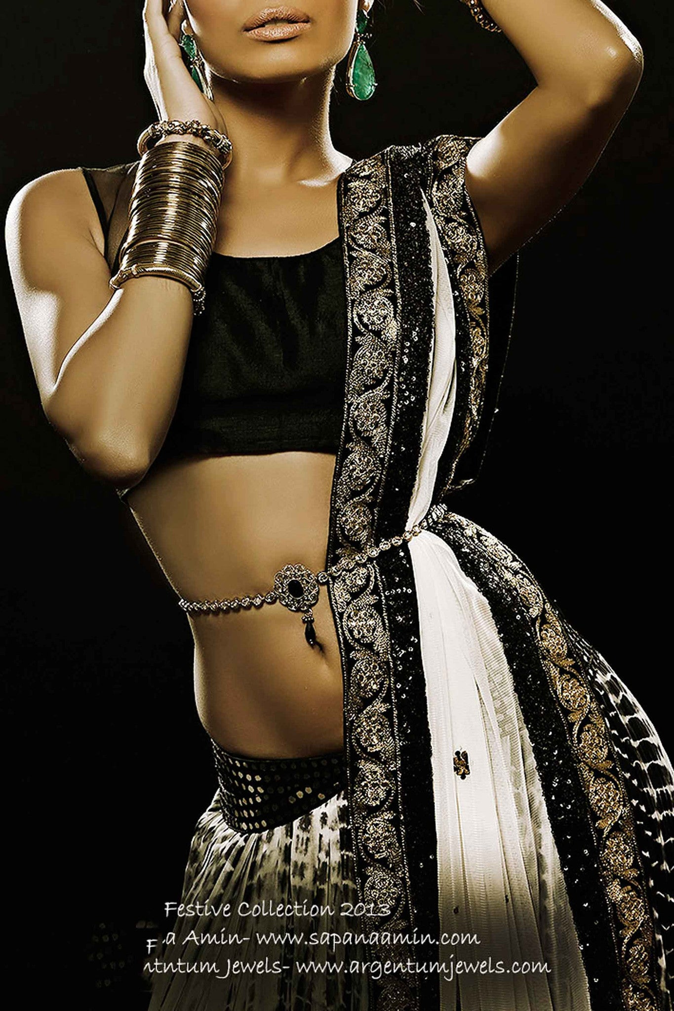 Black & White Silk Lehenga CloseUp