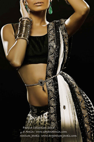 Black & White Silk Lehenga