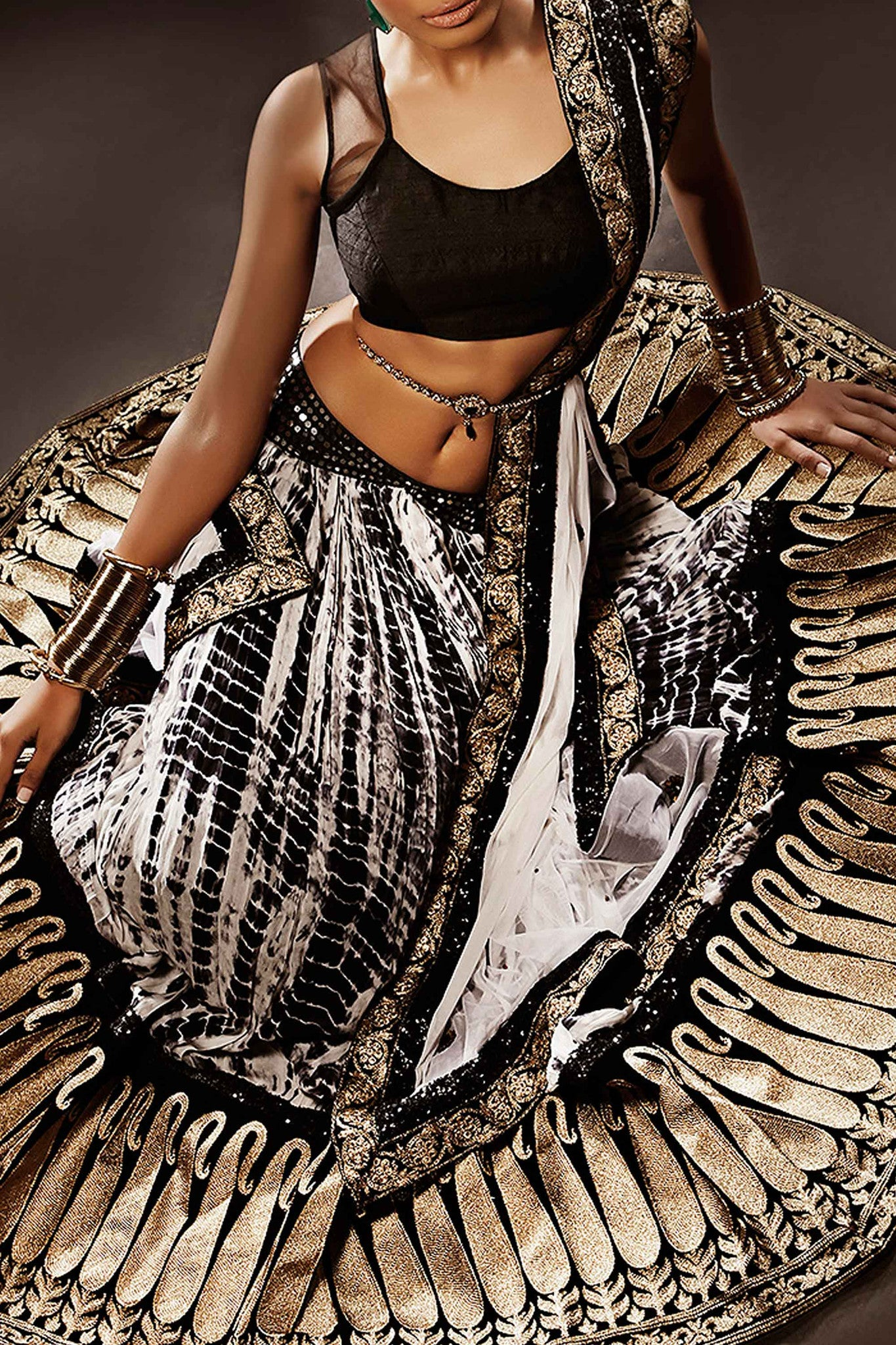 Black & White Silk Lehenga Front