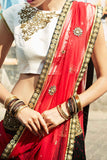 Black & Red Bhandni Lehenga CloseUp