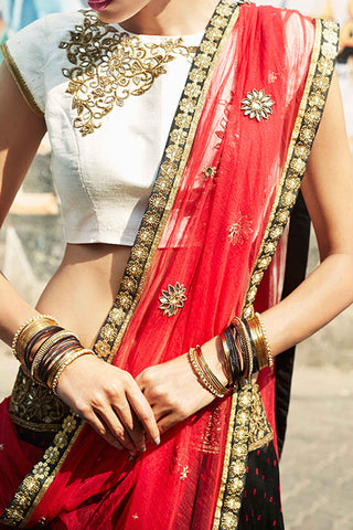 Black & Red Bhandni Lehenga
