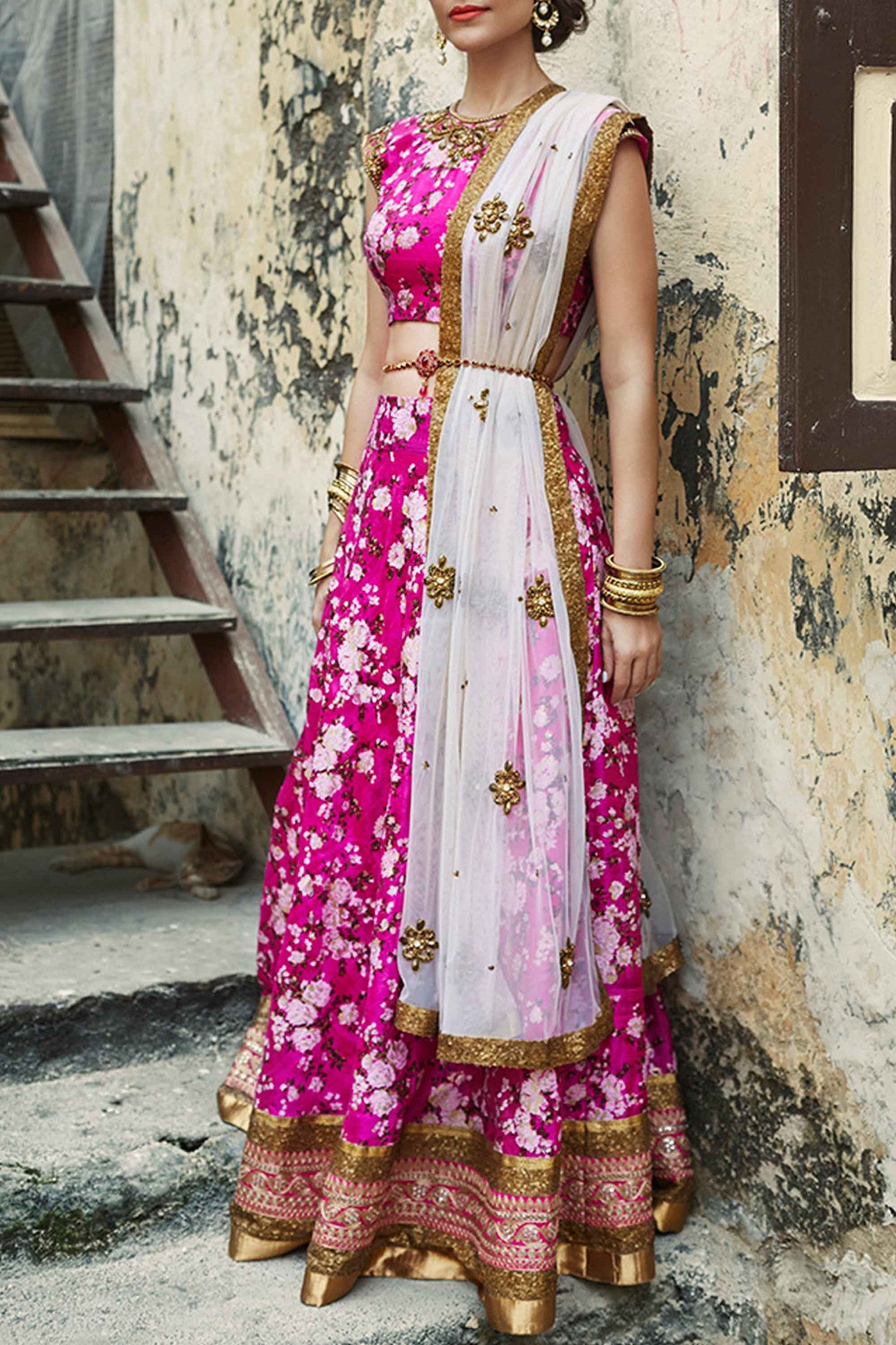 Pink Floral Lehenga Front