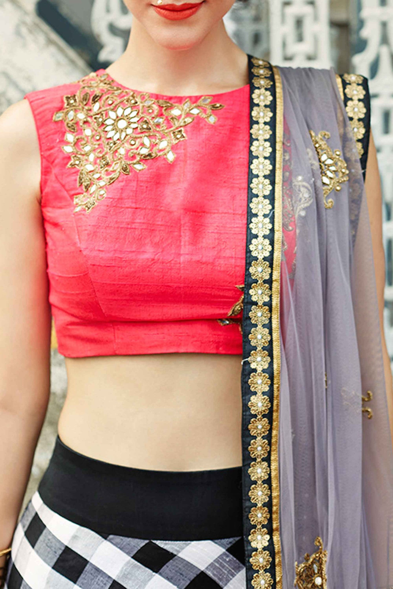 Pink Raw Silk Lehenga Closeup