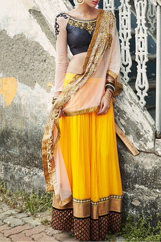 Black & Yellow Lehenga Front