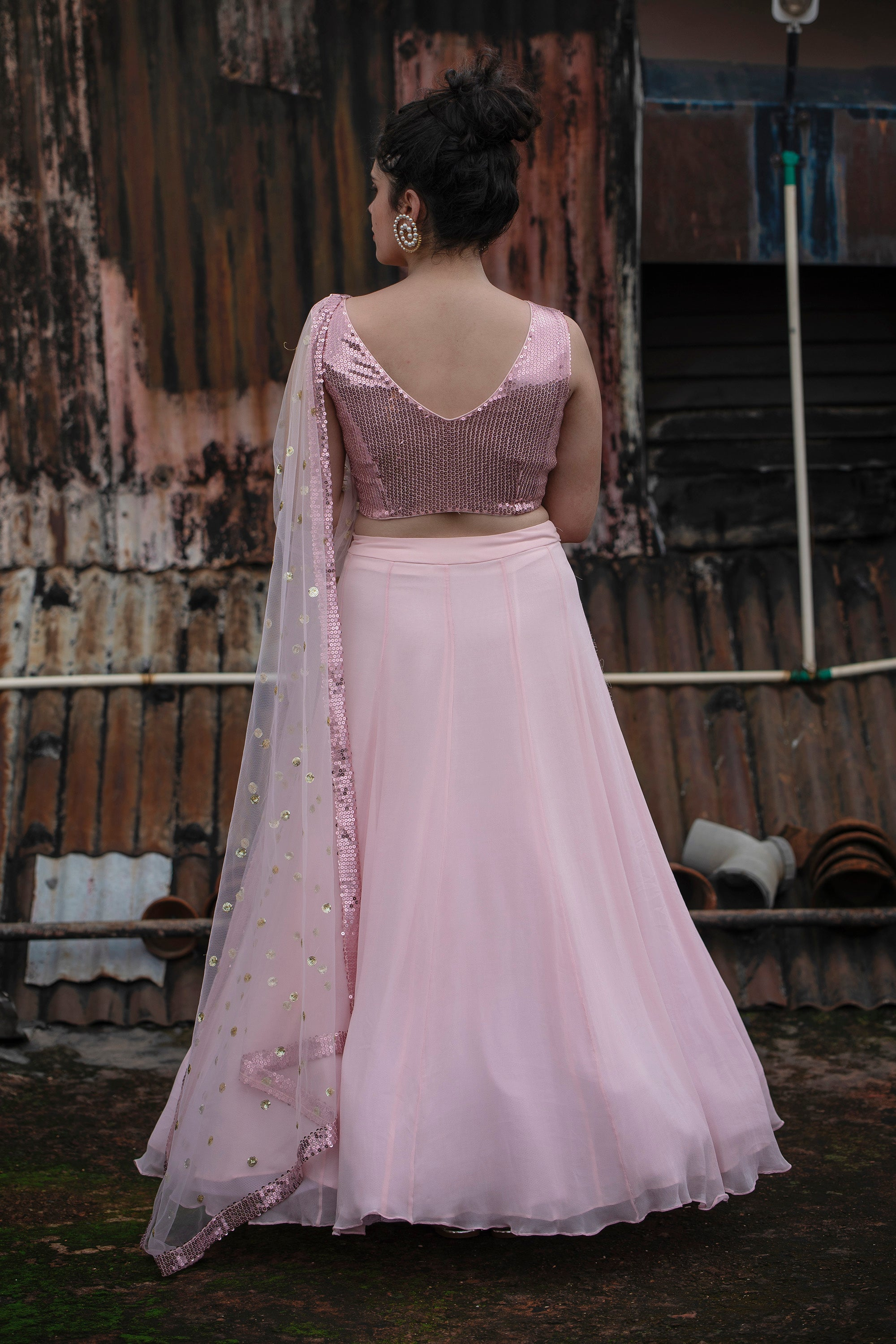Blush Pink Lehenga Set BACK