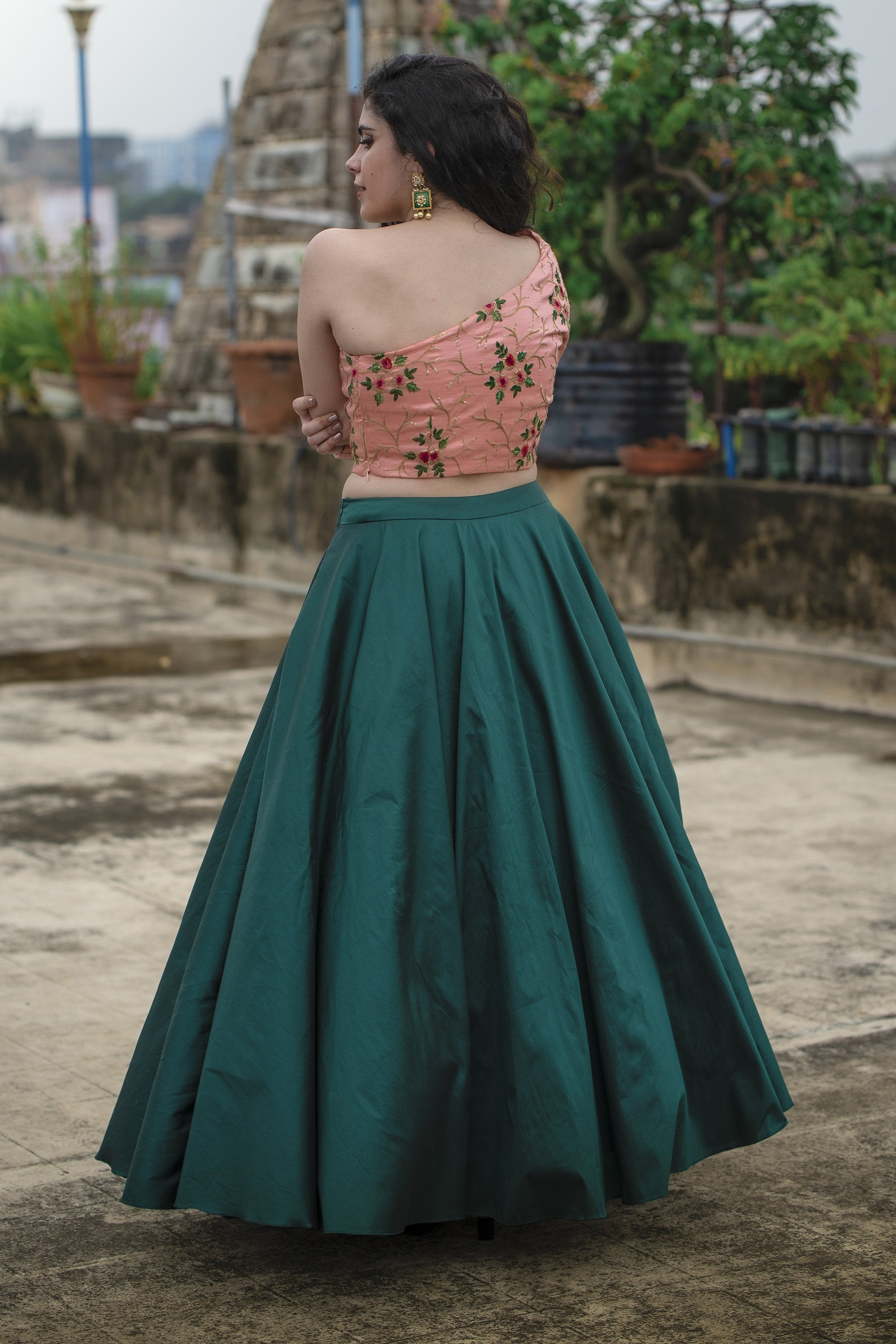 Emerald Green Lehenga Set BACK
