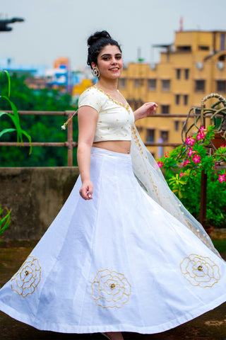 Shades Of White Lehenga SIDE
