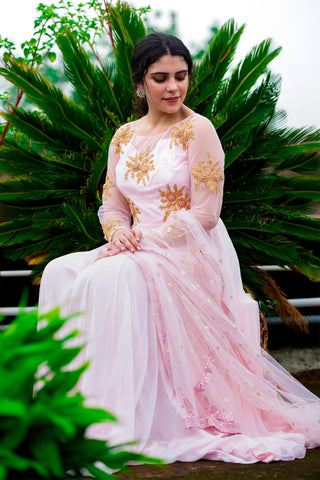 Powder Pink Anarkali SIDE