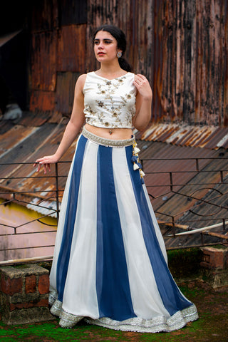 White And Grey Lehenga Set FRONT