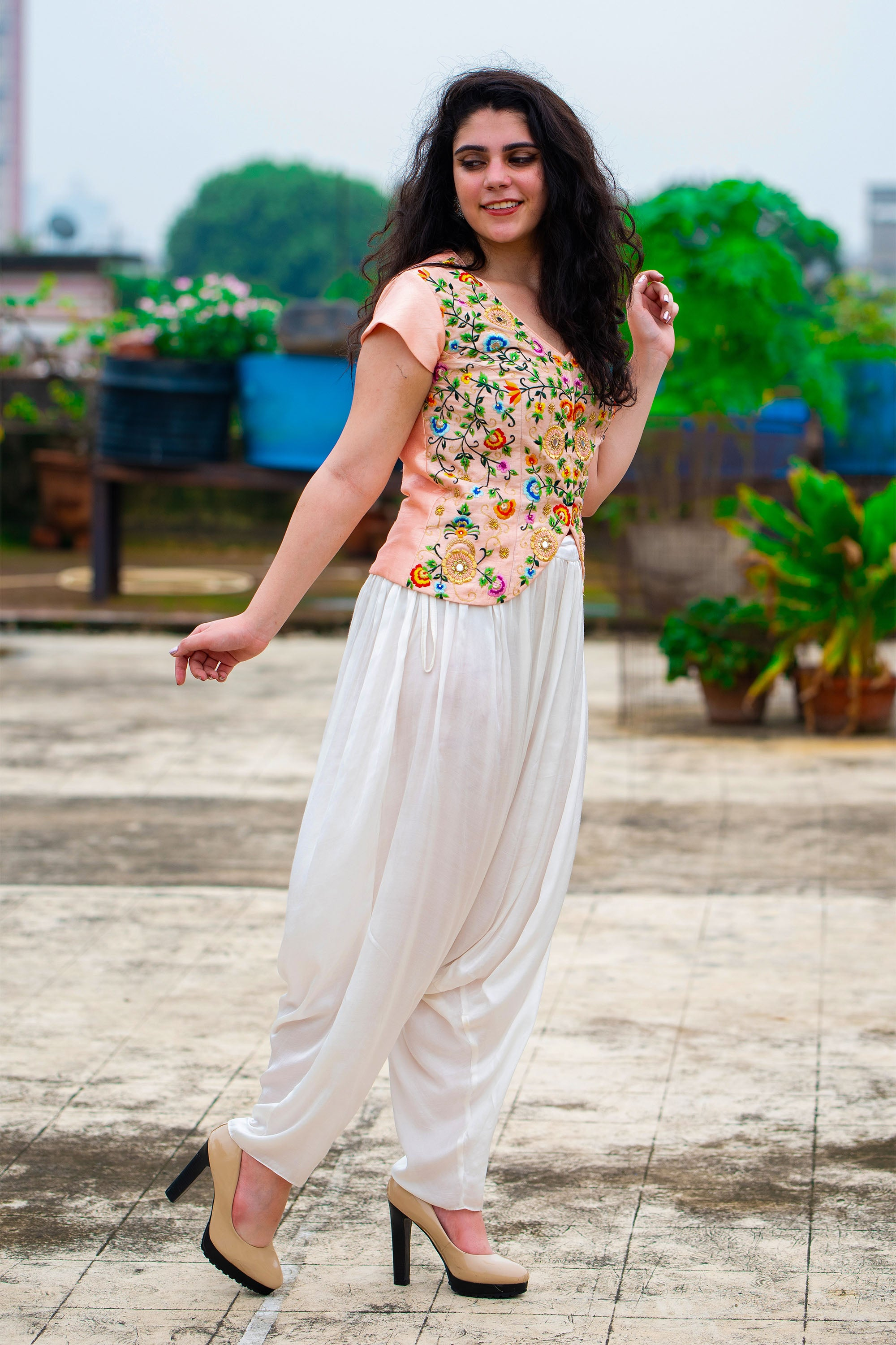 Peach Embroidered Jacket Top With White Dhoti Pant SIDE