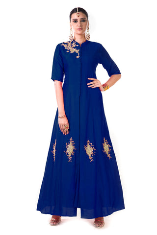 Blue Jacket Style Anarkali Gown