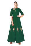 Green Jacket Style Anarkali Gown Front