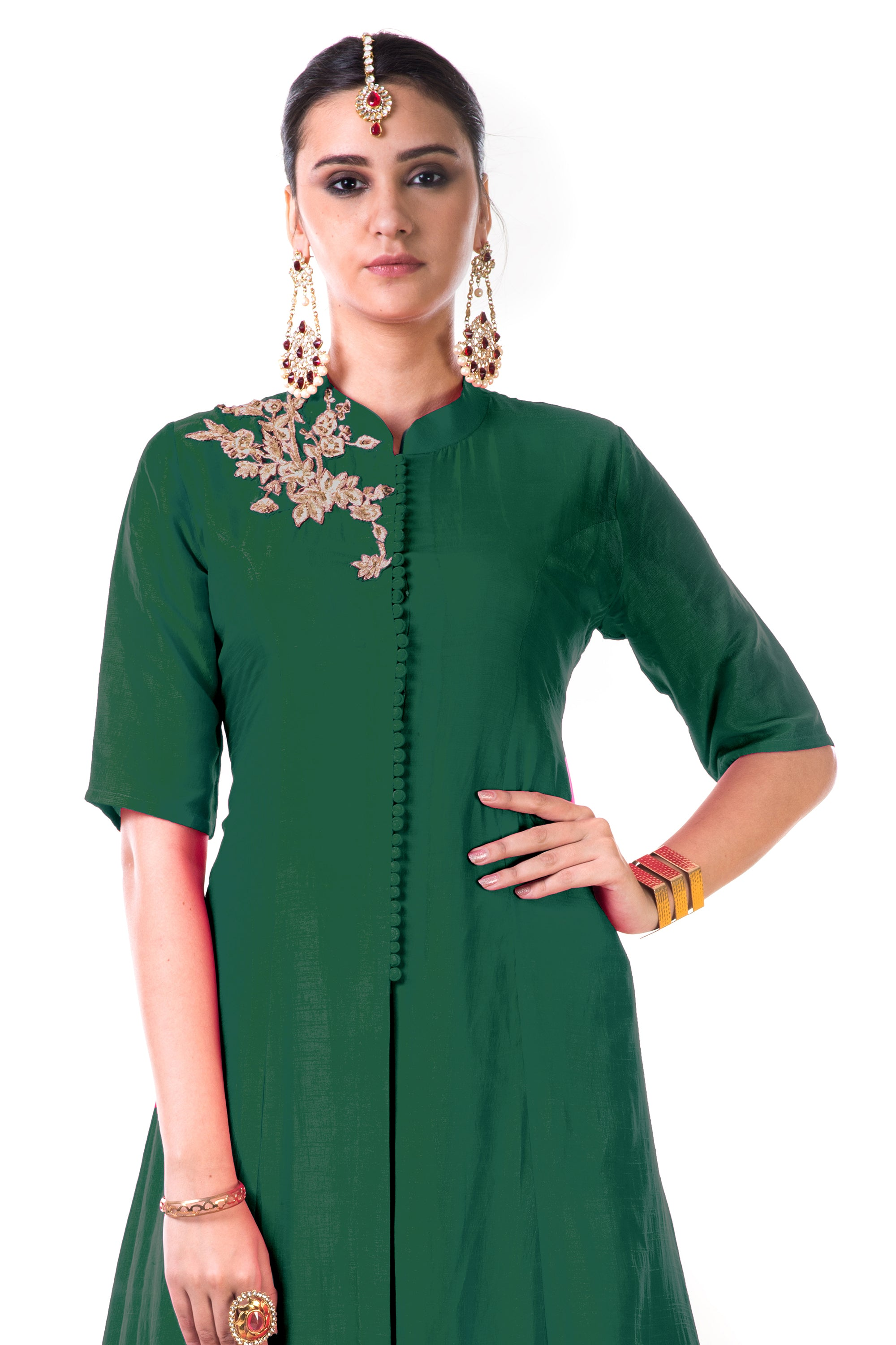 Green Jacket Style Anarkali Gown CloseUp