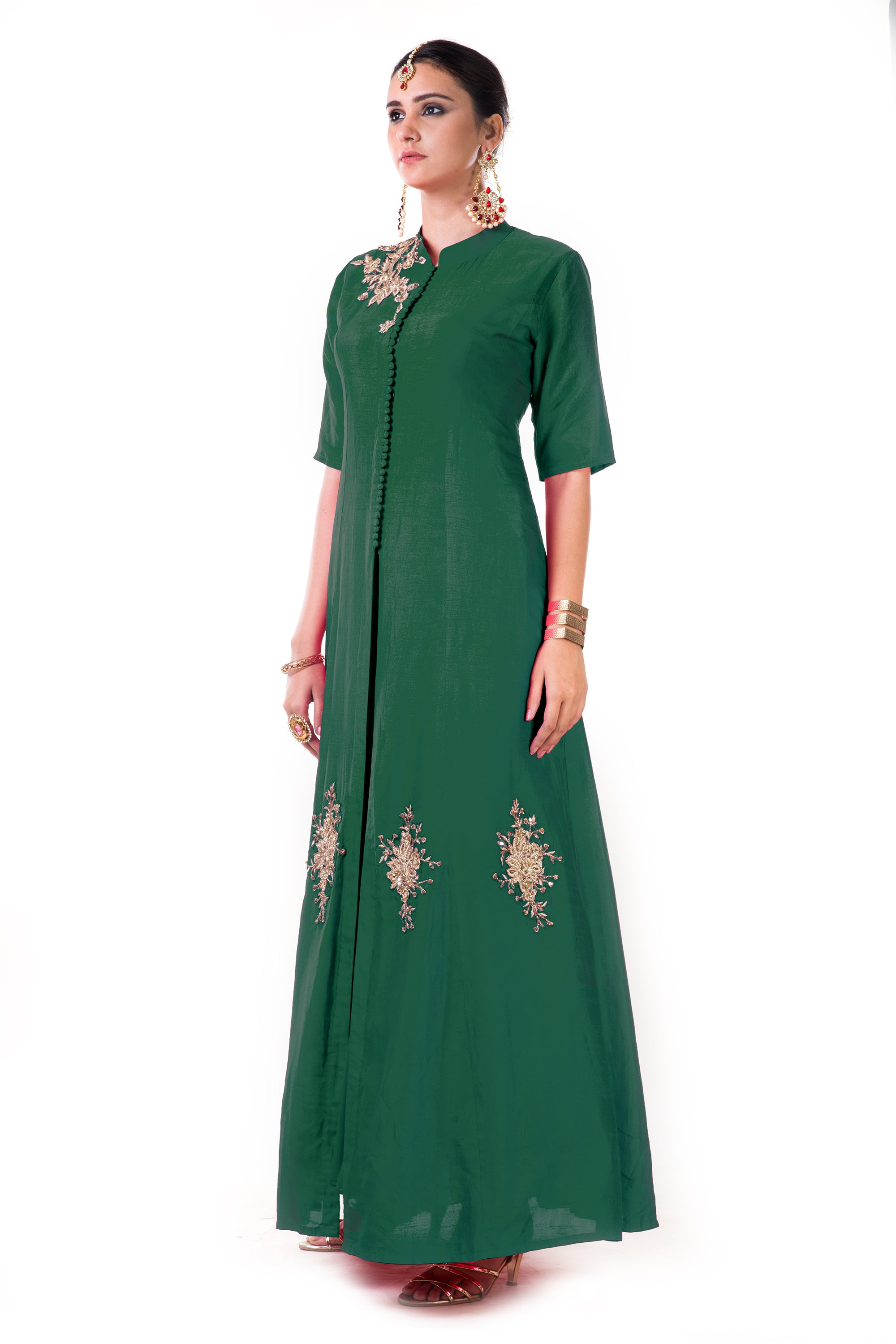 Green Jacket Style Anarkali Gown Side