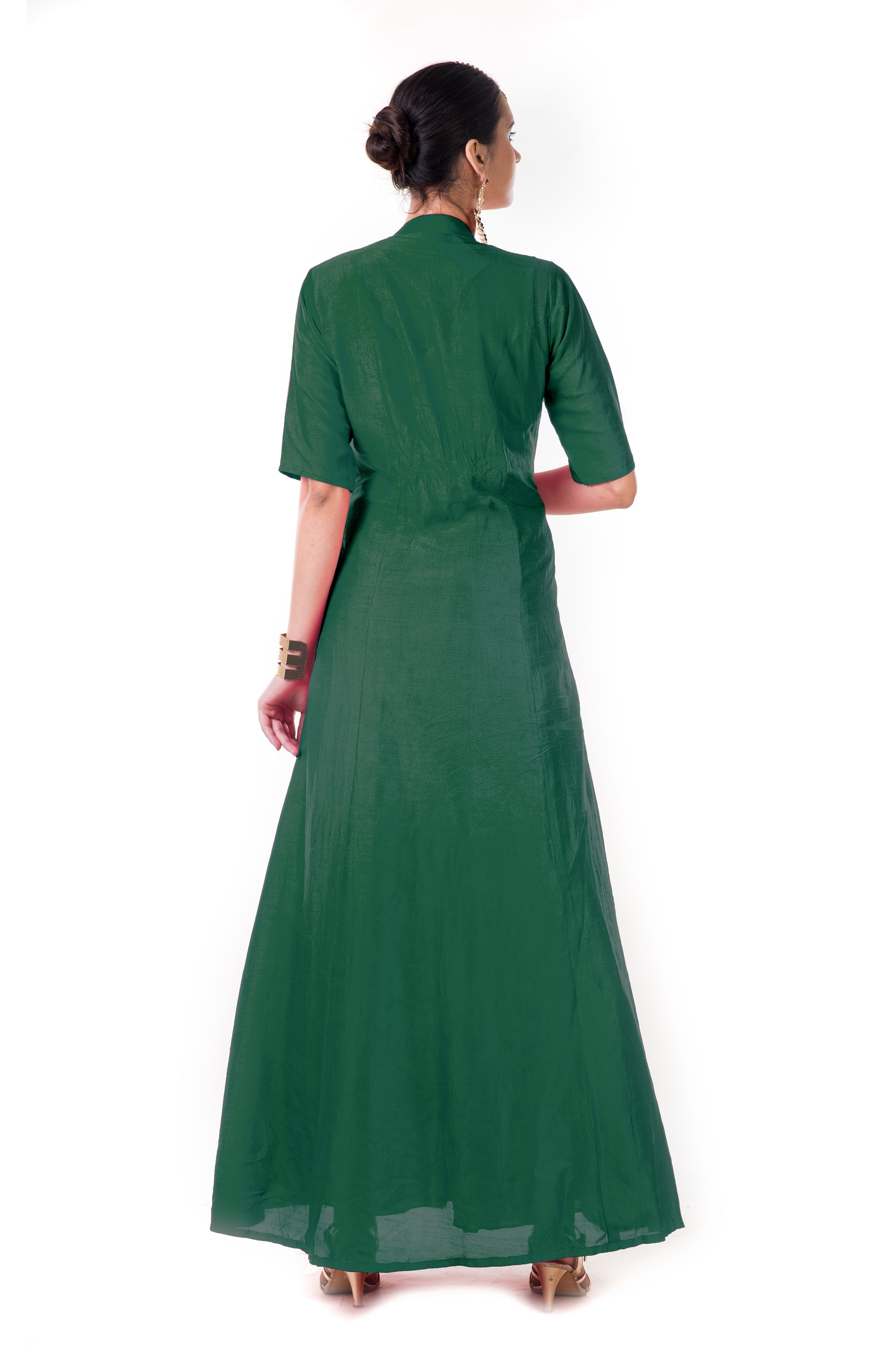 Green Jacket Style Anarkali Gown Back