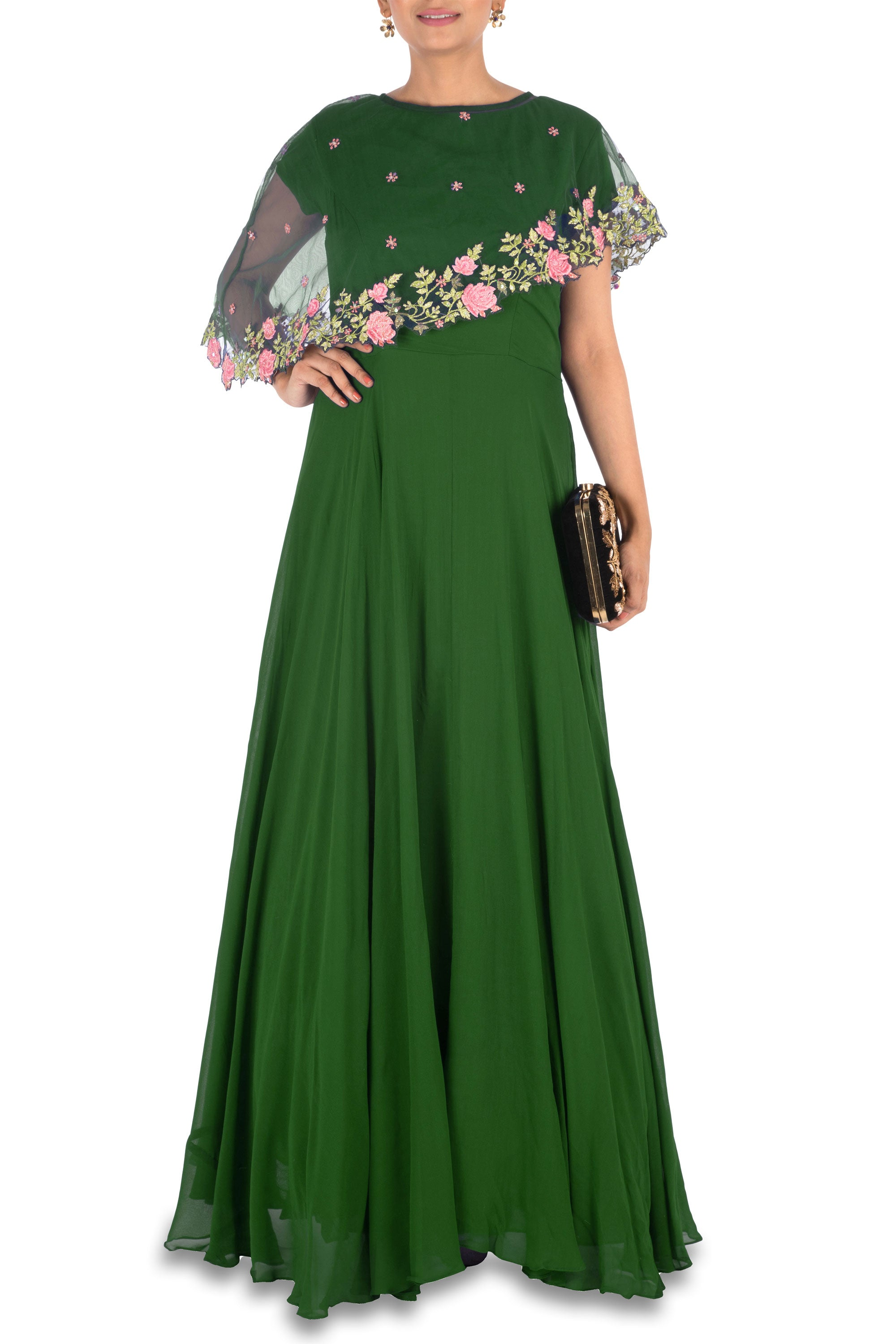 Deep Green Asymmetrical Cape Gown Front