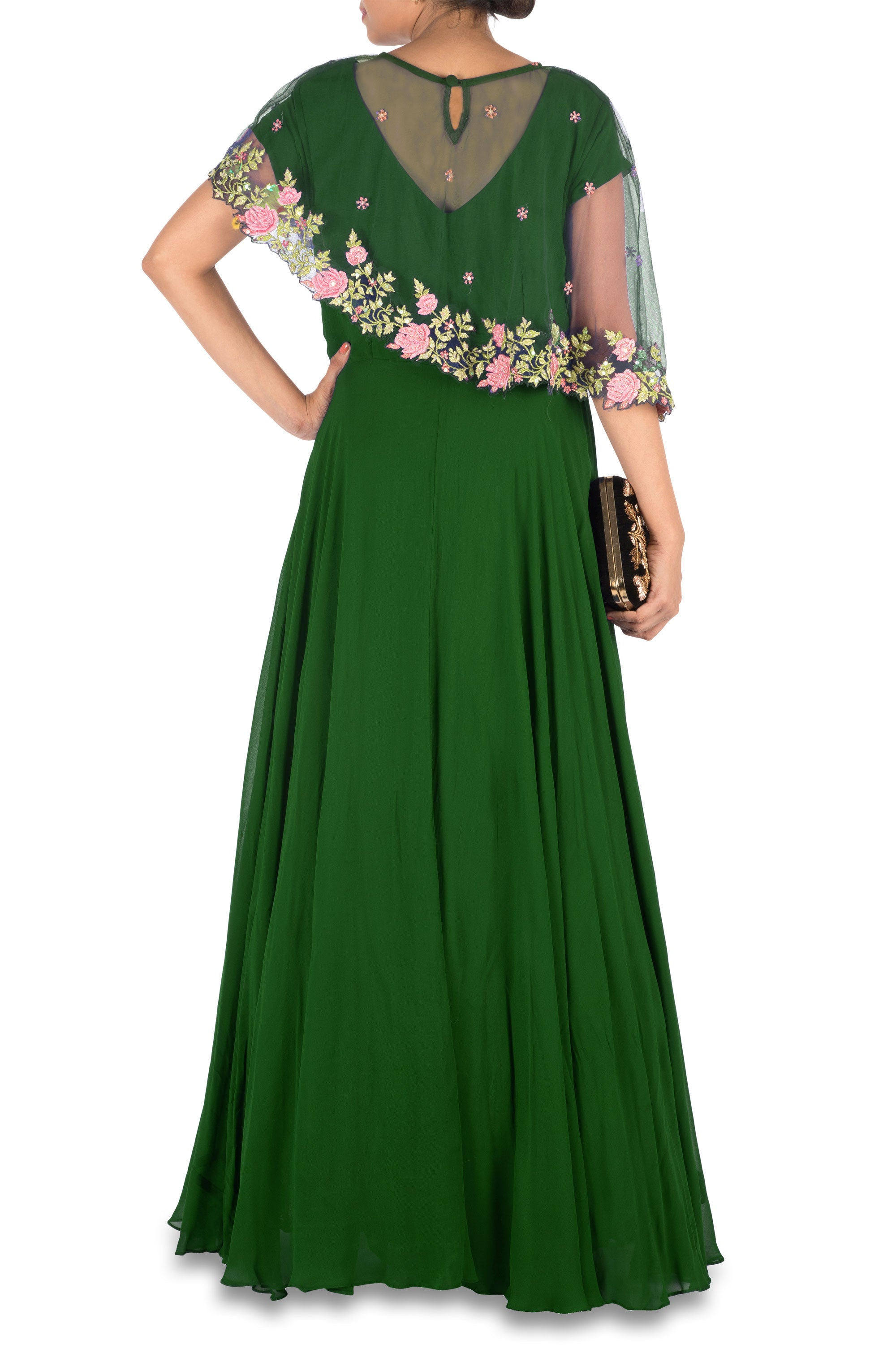 Deep Green Asymmetrical Cape Gown Back