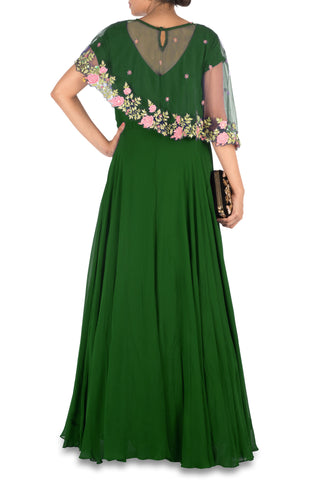 Deep Green Asymmetrical Cape Gown