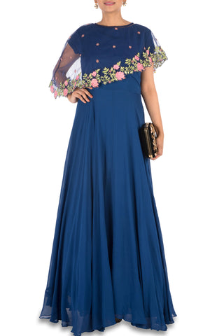 Navy Blue Asymmetrical Cape Gown Front