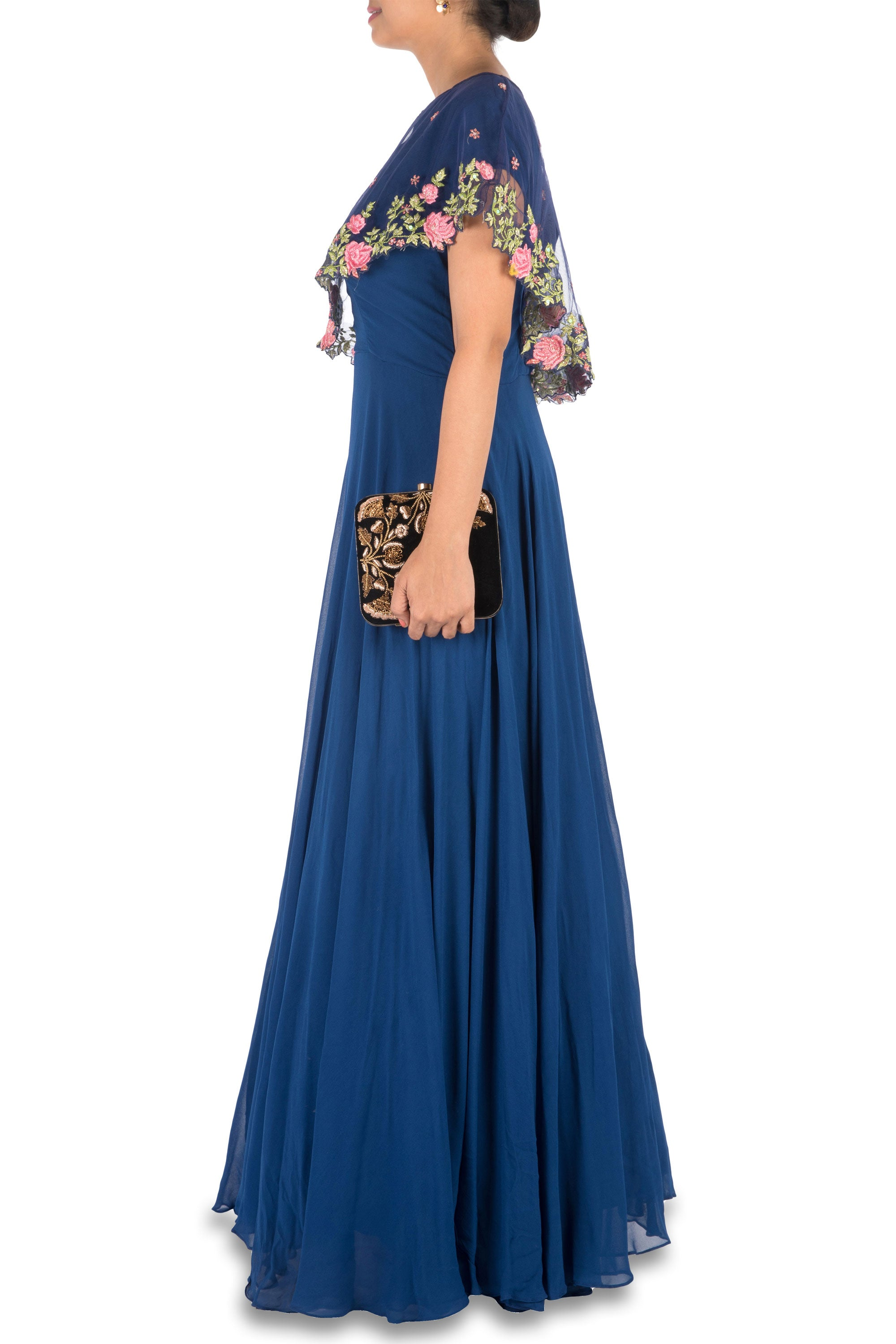 Navy Blue Asymmetrical Cape Gown Side