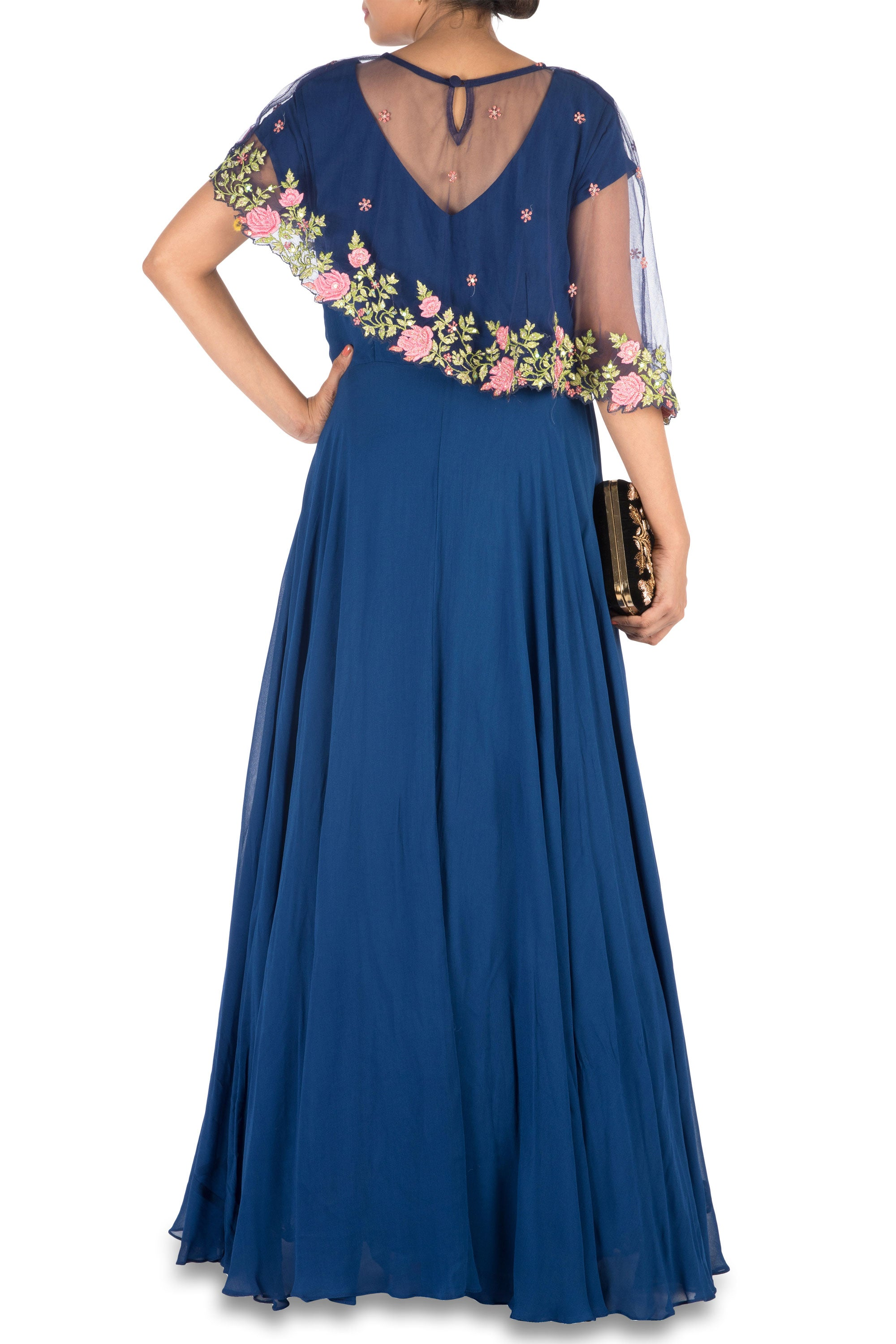 Navy Blue Asymmetrical Cape Gown Back