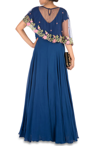 Navy Blue Asymmetrical Cape Gown