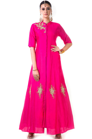 Fuchsia Pink Jacket Style Anarkali Gown Front