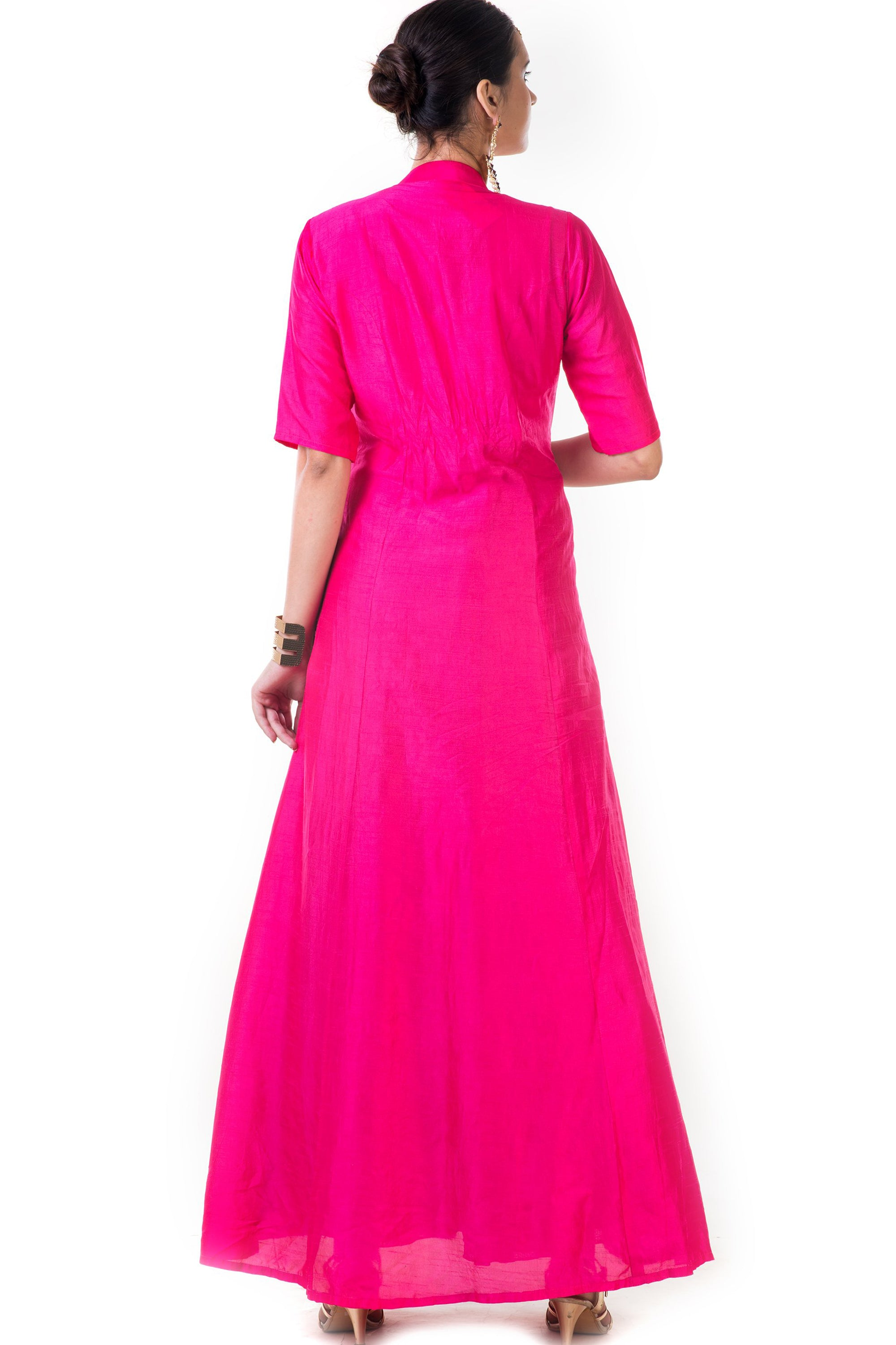 Fuchsia Pink Jacket Style Anarkali Gown Back