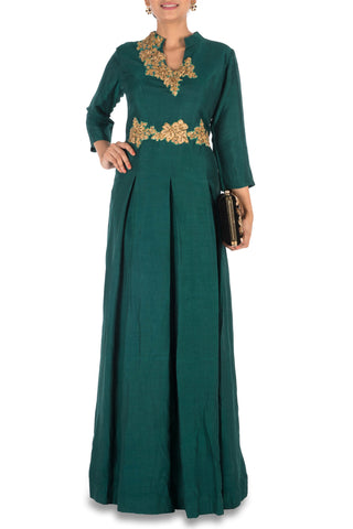 Dark Green Box Pleat Gown Front