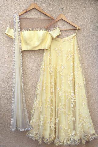Yellow Sequins & Pearl Work Lehenga
