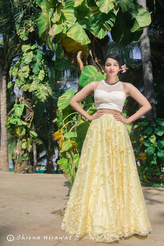 White Incut Blouse & Yellow Lehenga