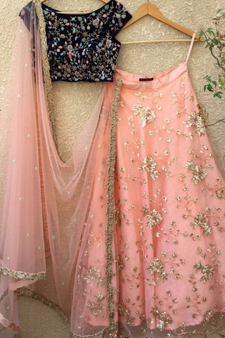 Navy Blue Velvet Blouse & Peach Lehenga