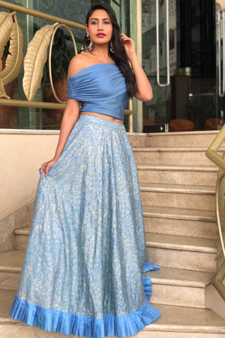 Blue Blouse With Threadwork Lehenga With Pleats