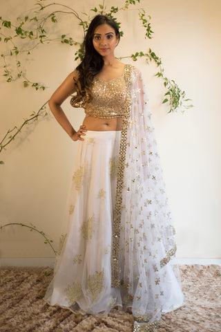 Gold Mirror Work Blouse With White Pearl Lehenga & Net Dupatta