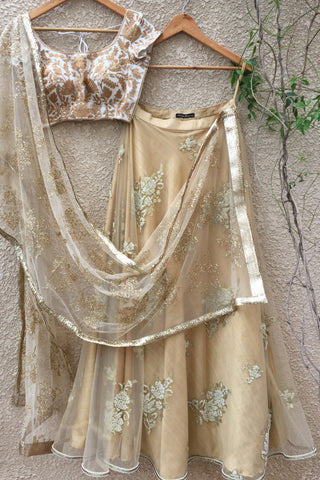 White Blouse & Gold Lehenga With Net Dupatta