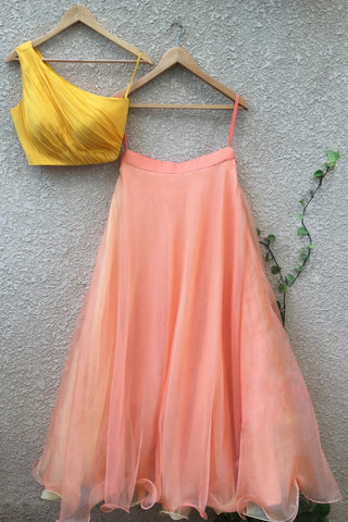 Yellow One Shoulder blouse With Peach Organza Skirt