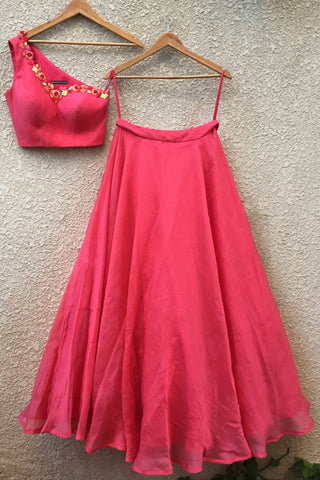 Coral One Shoulder Blouse With Coral Red Skirt