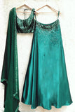 Emerald Green Sequins Work Lehenga Front