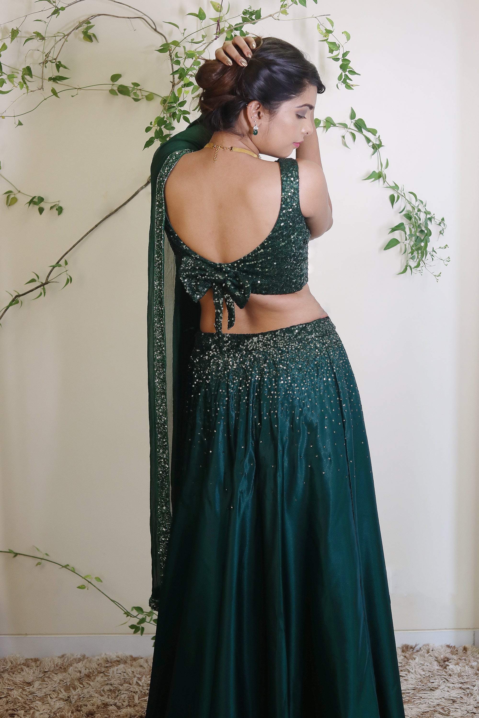 Emerald Green Sequins Work Lehenga Back