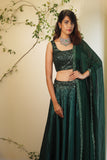 Emerald Green Sequins Work Lehenga