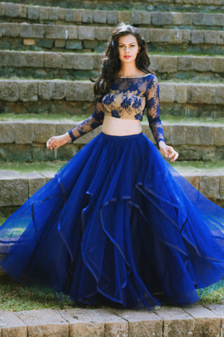 Blue Lace Blouse & Layered Tulle Skirt