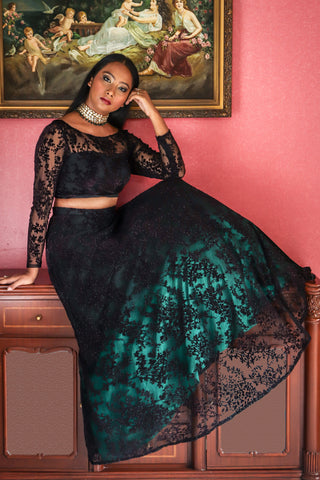 Black & Emerald Green Ombre Lehenga