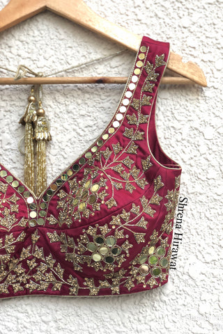 Crimson Mirror work Lehenga