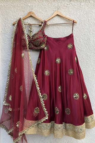 Crimson Mirror work Lehenga FRONT
